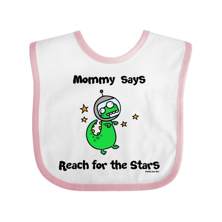 mommy says Reach for the Stars Baby Bib White/Pink One Size