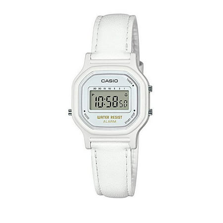 Casio LA11WL-7A Women's White Leather Band Daily Alarm Chronograph Digital - Shape Leather Band Watch