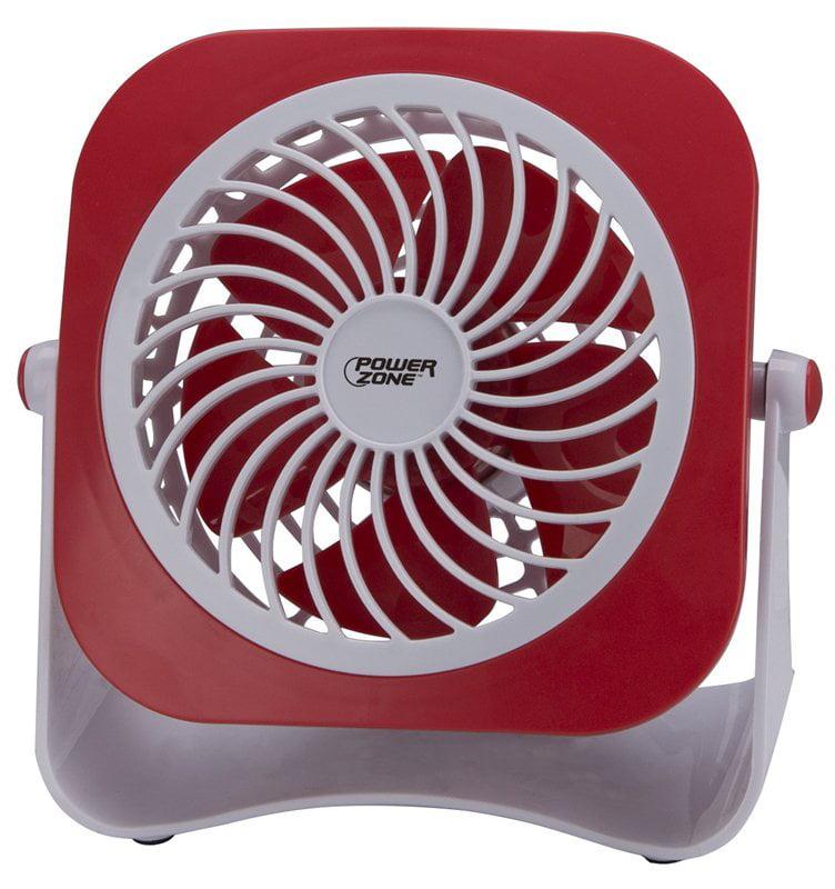 PowerZone Dual Powdered Table Fan, 2 Speeds, Plastic, 4 In W
