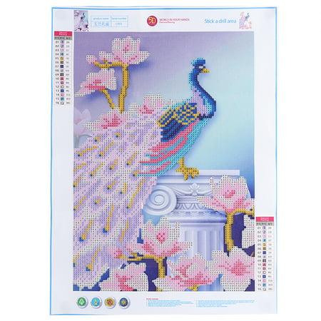 Yosoo DIY Diamond Embroidery Painting Rhinestone Flower Peacock Cross Stitch Decor Left/Right Peacock - image 3 of 7