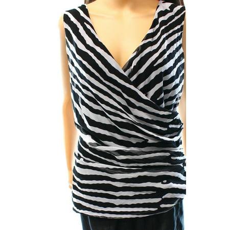 INC NEW Black Women Size Large L Ruched Wild Tiger Surplice Tank (Tigers Ladies Cream)