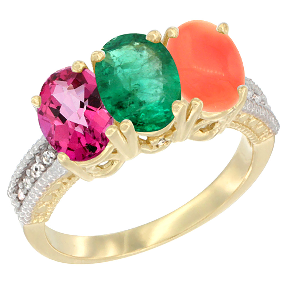 10K Yellow Gold Diamond Natural Pink Topaz, Emerald & Coral Ring 3-Stone 7x5 mm Oval, sizes 5 10 by WorldJewels