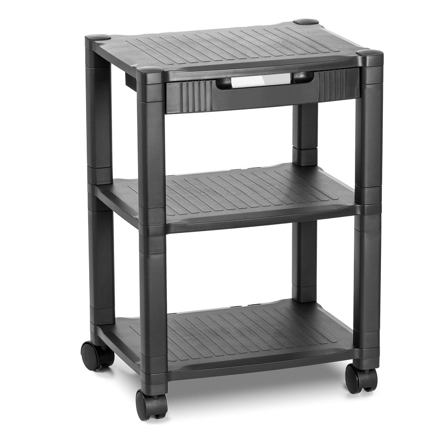 "GHP 17.12""X13.18""X19.68""-24.4"" Black Built-In Cable Office 3-Tier Cart w Wheels"