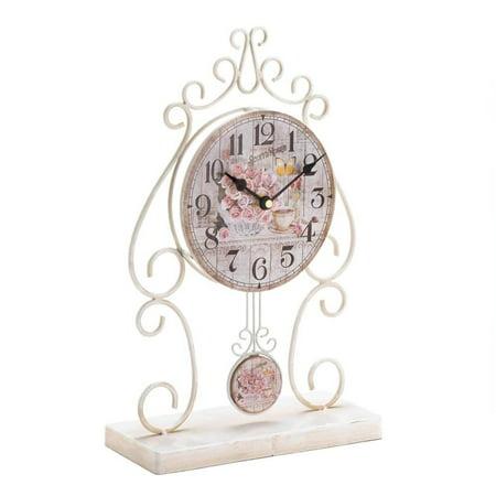 Desk Clock Small, Country Rose Table Round Metal Rustic Desktop Clock, White ()
