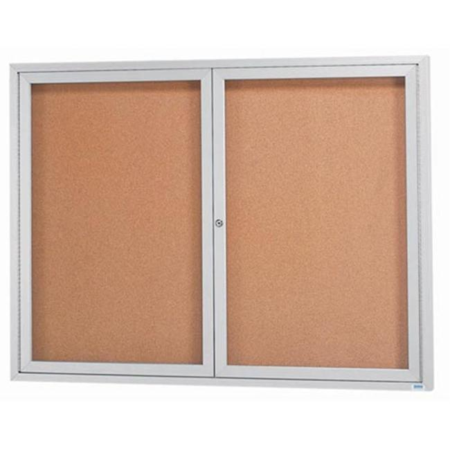 Aarco Products DCC4860RI 2-Door Illuminated Enclosed Bulletin Board - Clear Satin Anodized