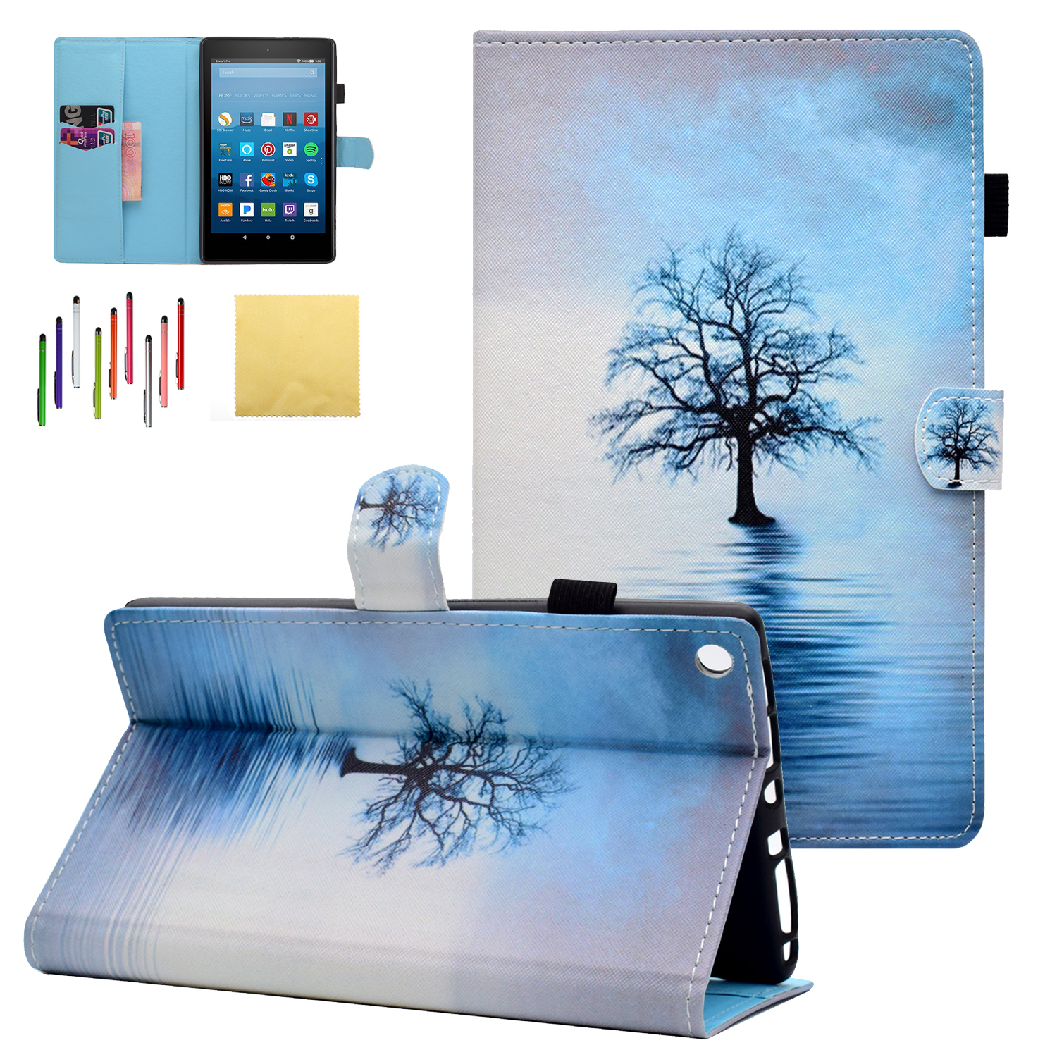 Fire HD 8 2017/ 2016/ 2015 Case, Goodest PU Leather Folio Folding Stand Cover with Pencil Holder Auto Wake Sleep for All-New Amazon Kindle Fire HD 8 Tablet (5th/ 6th/ 7th Generation), Water Cat