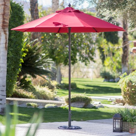 Coral Coast Key Largo 7.5-ft. Spun-Poly Wood Market Umbrella You can't beat the combination of quality and affordability in this Coral Coast Key Largo 7.5-ft. Spun-Poly Wood Market Umbrella. This solid-wood pole features six ribs to give the spun-poly canopy plenty of support. Choose from the available vibrant colors to keep you stylishly in the shade. This umbrella is the perfect size for shading a patio table 36 to 40 inches. We recommend a 40-pound stand for table use and a 75-pound stand for freestanding use. This umbrella is a Hayneedle exclusive!