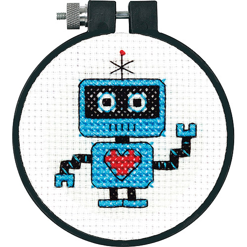 """Dimensions Learn-a-Craft Robot Counted Cross Stitch Kit, 3"""" round"""