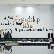 Everything Vinyl Decor Fine Friendship and Wine Inspirational Vinyl Wall Art
