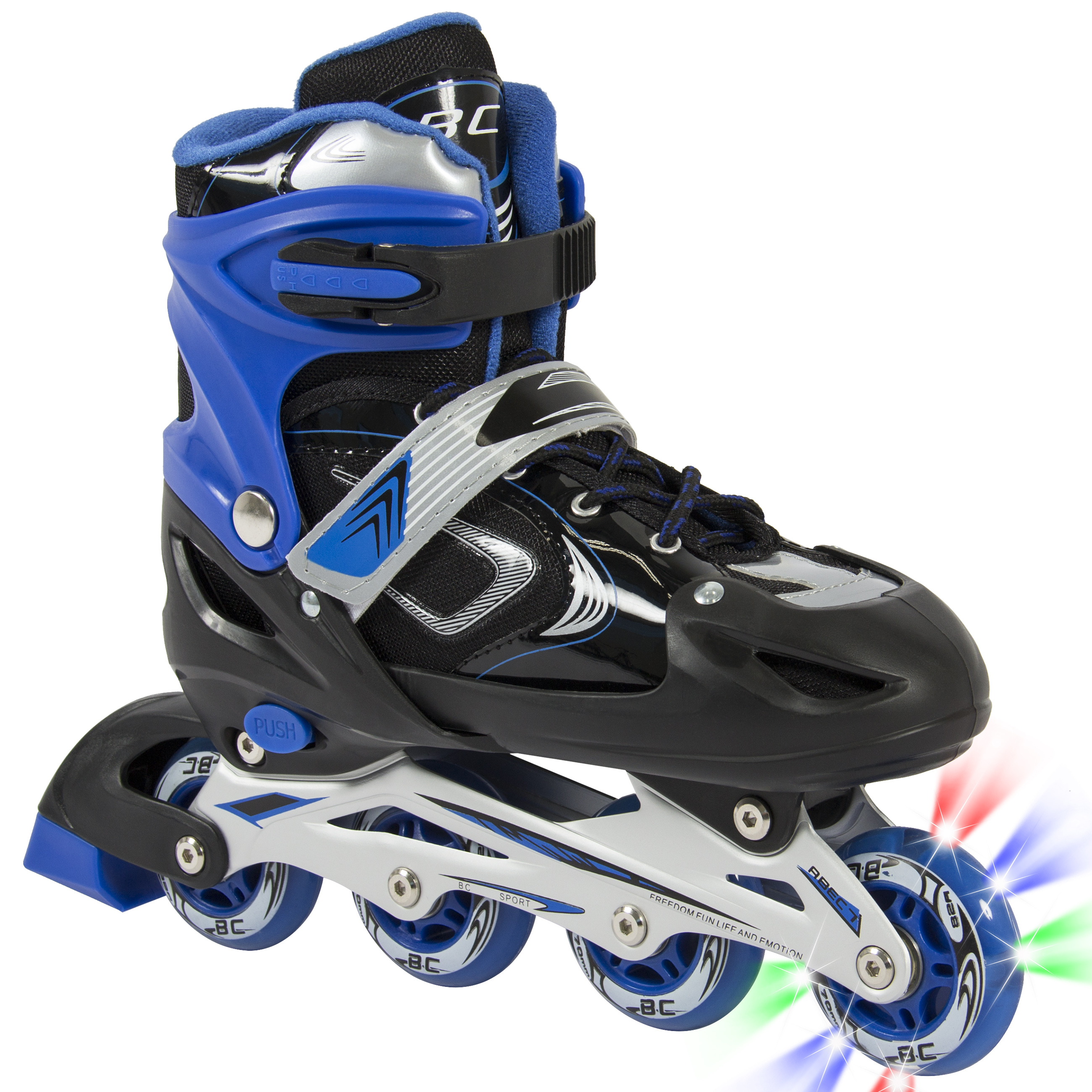BCP Adjustable Kid Inline Skates Roller Blades Iluminating Outdoor Sport Blue