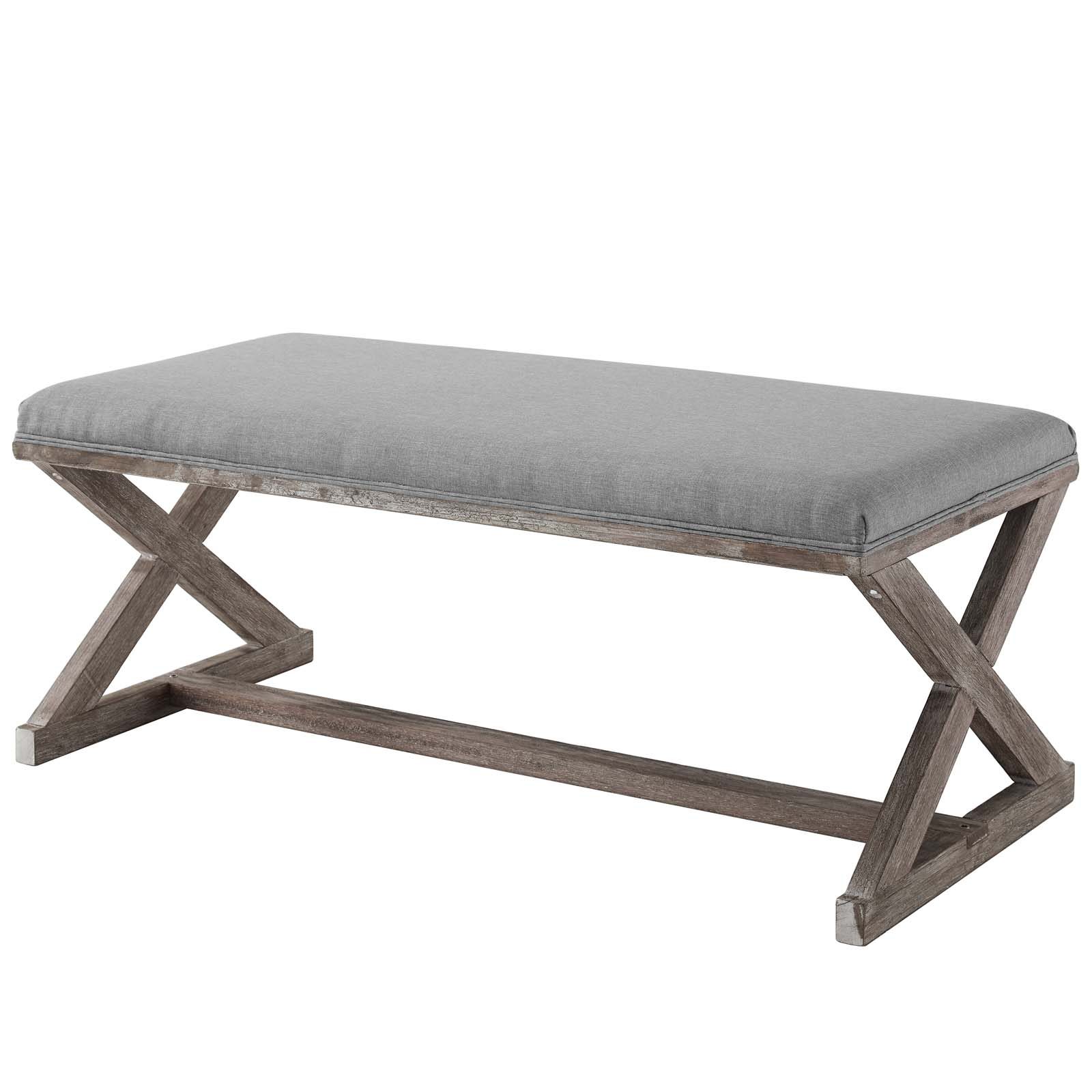 Picture of: Industrial Country Farm Beach House Living Room Lounge Club Lobby Accent Chair Bench Vintage Style Fabric Wood Light Grey Gray Walmart Com Walmart Com