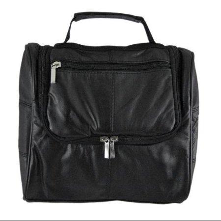 Black Leather Hanging Toiletry Bag Shaving Shave Travel