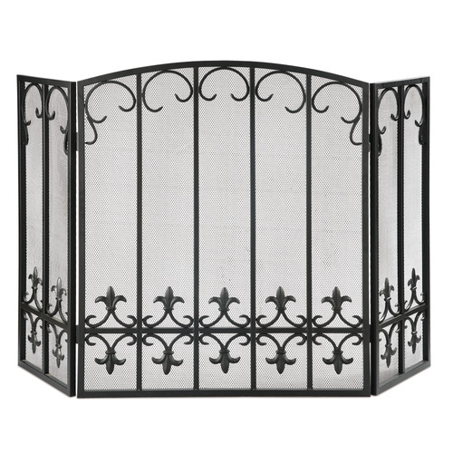 SPI Home Fleur de Lis 3 Panel Iron Fireplace Screen by San Pacific International (SPI)