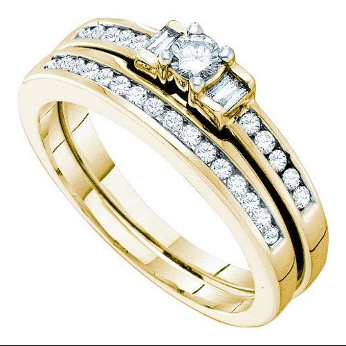10K Yellow Gold 0.43CT Round Center Bridal Set Ring with Baguette Cut Diamond