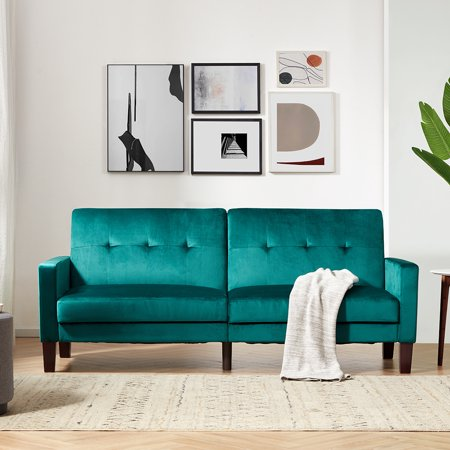 """Fabric Sectional Sofa Bed, Modern Convertible Sofa Bed, Premium Velvet Living Room Couches and Sofas with Solid Wood Legs, Recliner Sofa Bedroom Furniture for Small Space, 78""""x31.5""""x34.6"""", Q11896"""