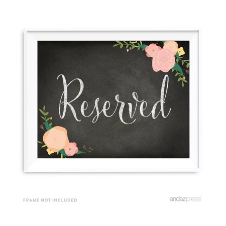 Reserved Chalkboard & Floral Roses Wedding Party Signs - Chalkboard Wedding Signs