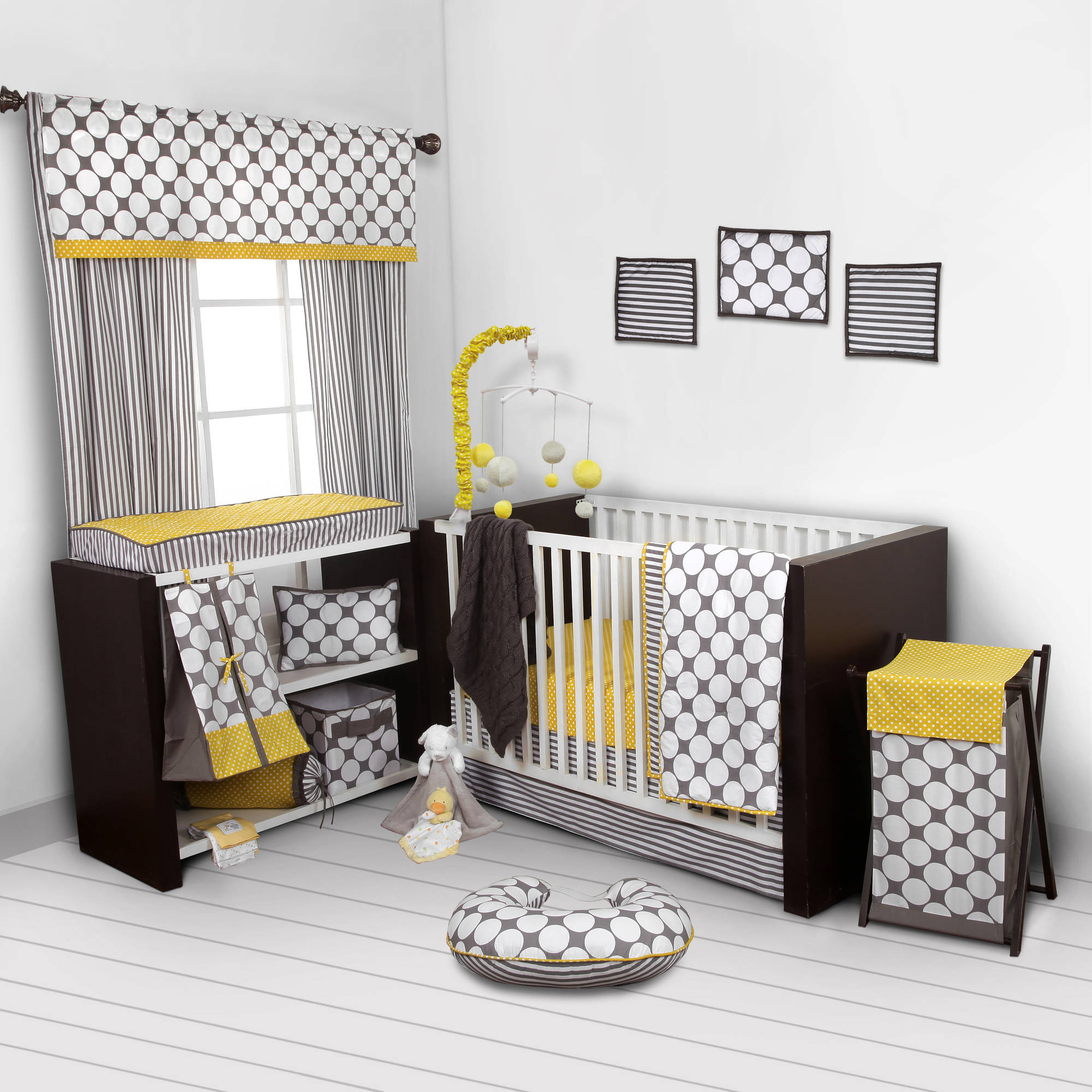 Bacati Dots Pin Stripes Gray Yellow S 10 Piece Nursery In A Bag 100 Cotton Percale Uni Crib Bedding Set With 2 Ed Sheets