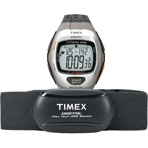 Timex Men's Zone Trainer HRM Dark Gray/Silver-Tone Resin Watch with Chest Strap Sensor