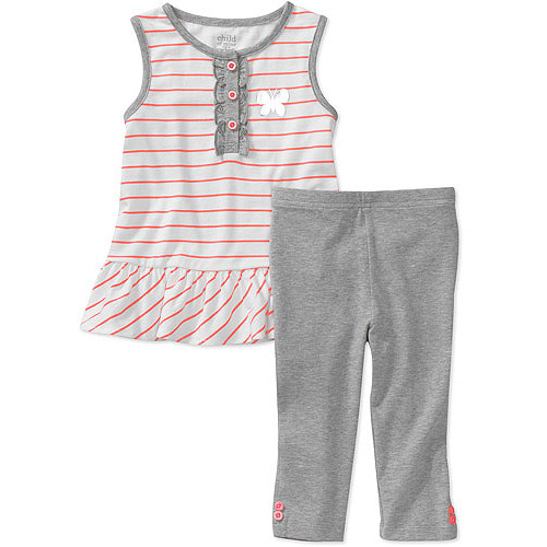 Child of Mine by Carters Baby Girls' 2 Piece Stripe Ruffle Tunic and Legging Set