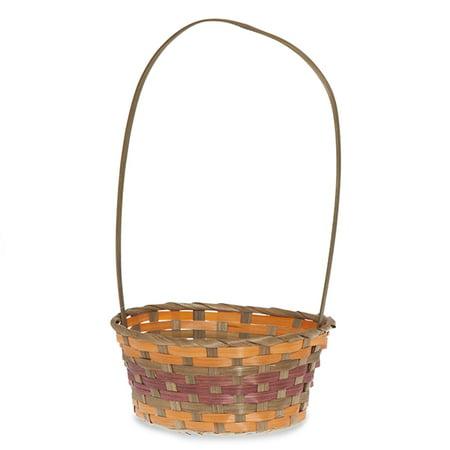 Oblong Bamboo Fall Handle Basket 9in - Fall Leaf Basket