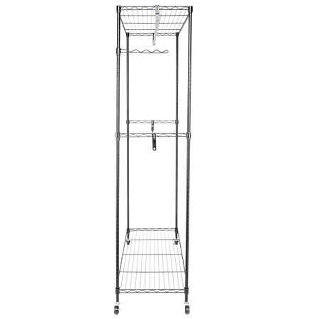 Double Rod Garment Rack Rolling Clothes Organizer - Lockable Wheels,Side Flexible Hook,35.4 x 17.7 x 70.9 Inch,Black,Y00424 Clothing Racks on Wheels with Double Rod & Shelves, Wire Shelving Clothing Rolling Rack Heavy Duty Garment Rack,35.4 x 17.7 x 70.9 Inch Modern Design &  Open SightThe metal wire design for the garment rack is simple and modern, which is suitable for most dcor. And Open design offers you for clear visibility and grab quickly what you want. Large  CapacityPratical clothes rack equipped with 2 adjustable shelves, 2 hanging rod and a flexible side rod. You can use bottom shelf to keep your shoes, luggage or other daily items and put your beddings on the top shelf.The spinning side rod are perfect for ties, belts or scarves. Adjustable  HeightThis clothing rack equipped with adjustable shelves, simply slide the shelf to the desired height and attach the sleeves to hold the shelf in place. 360  RotatingThe rolling clothes rack is equipped with 4 heavy-duty caster wheels for easy portability around the house. The wheels have a 360 swivel for smoother transportation. Two of the caster wheels have locking brakes for safety and security to keep the garment rack in place. Stable  ConstructionWardrobe rack constructed with powder sprayed carben steel pipes, the closet is sturdy and rustproof. The clothing rack will company you for years like new. The weight capacity of each shelf is approx 66 lbs.Introductions:If you are always bothered by your messy room, this Garment Rack Clothes Hanger is highly recommended to you. Adopting high quality material, it features stable, sturdy and durable. It can create extra storage space instantly, and instantly organize your messy items into neat condition with little effort. With smooth rolling and stable stand, it's easy to move around your house and secure lock in space with 4 industrial wheels(Two locking). Moreover, it has a swinging arm and adjustable shelves, which allows you to organize belts, ties, shoes, purses and other stuffs. Don't hesitate, just take it home!Specifications:1. Material: Carbon Steel2. Color: Black3. Surface Finish: Powder Coating4. Dimensions: (35.4 x 17.7 x 70.9)  / (90 x 45 x 180)cm (L x W x H)5. Pipe Size: 19x1.0mm (Diameter x Thickness)6. Weight: 16.3 Lbs / 7.4 kg7. Per Shelf Maximum Load: 66 Lbs / 30 kgFeatures:1. Made of high quality material, stable, sturdy and durable2. It has a long service time3. Large storage capacity, make your room no longer in a mess4. Flexible wheels, easy to move to anywhere5. Spacious and adjustable, multifunctional and practical6. Easy to assemble and maintainPackage Includes:1 x Garment Rack Hanger