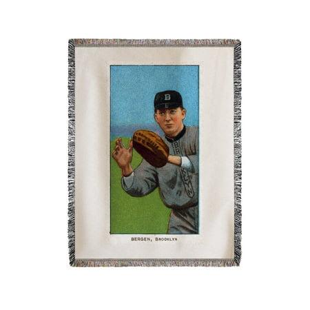 Dover Blanket - Brooklyn Dodgers - Bill Bergen - Baseball Card (60x80 Woven Chenille Yarn Blanket)