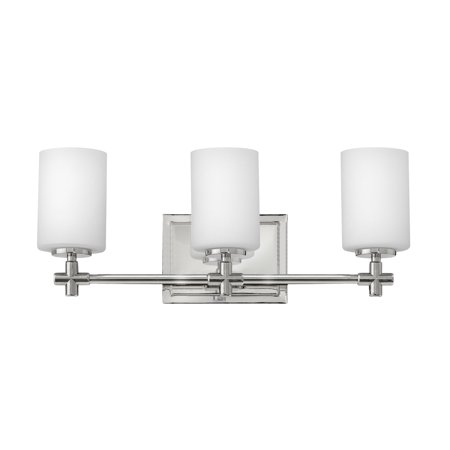 Hinkley Lighting 57553 3-Light Bathroom Vanity Light with Frosted Glass Shades from the Laurel Collection