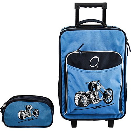 O3 Obersee Kids Blue Motorcycle 2-piece Carry On Upright and Toiletry Bag Set
