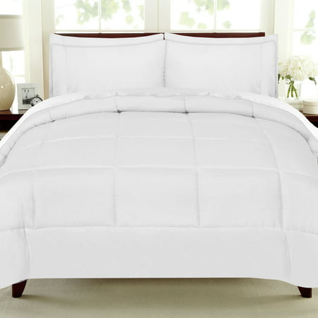 Down Alternative Comforter Sets (Luxury 7 Piece Bed In A Bag Down Alternative Comforter And Sheet Set - White - Queen )