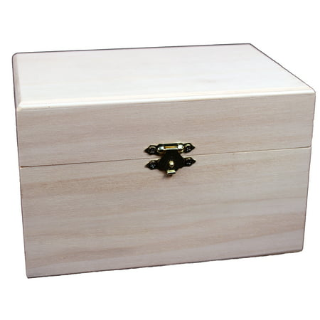 Creative Hobbies Ready to Decorate Wooden Recipe Box with Hinged Lid and Front Clasp - 6.75