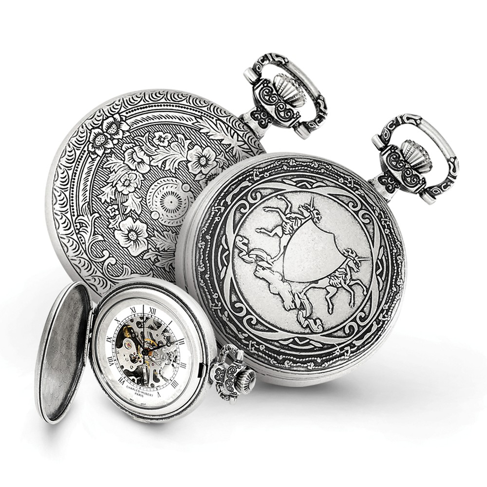 Antiqued Unicorn Shield Pocket Watch - Engravable Personalized Gift Item