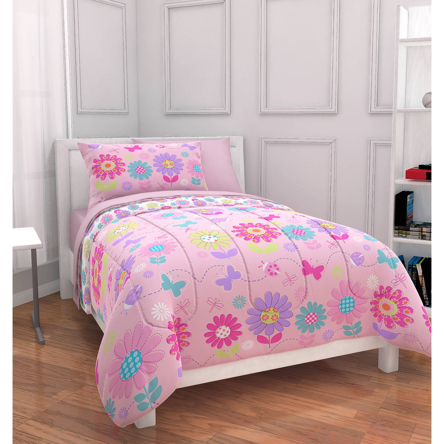 Mainstays Kids Daisy Floral Bed in a Bag Bedding Set