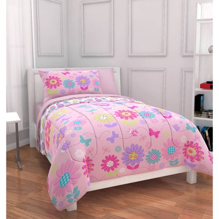 mainstays kids daisy floral bed in a bag bedding set. Black Bedroom Furniture Sets. Home Design Ideas