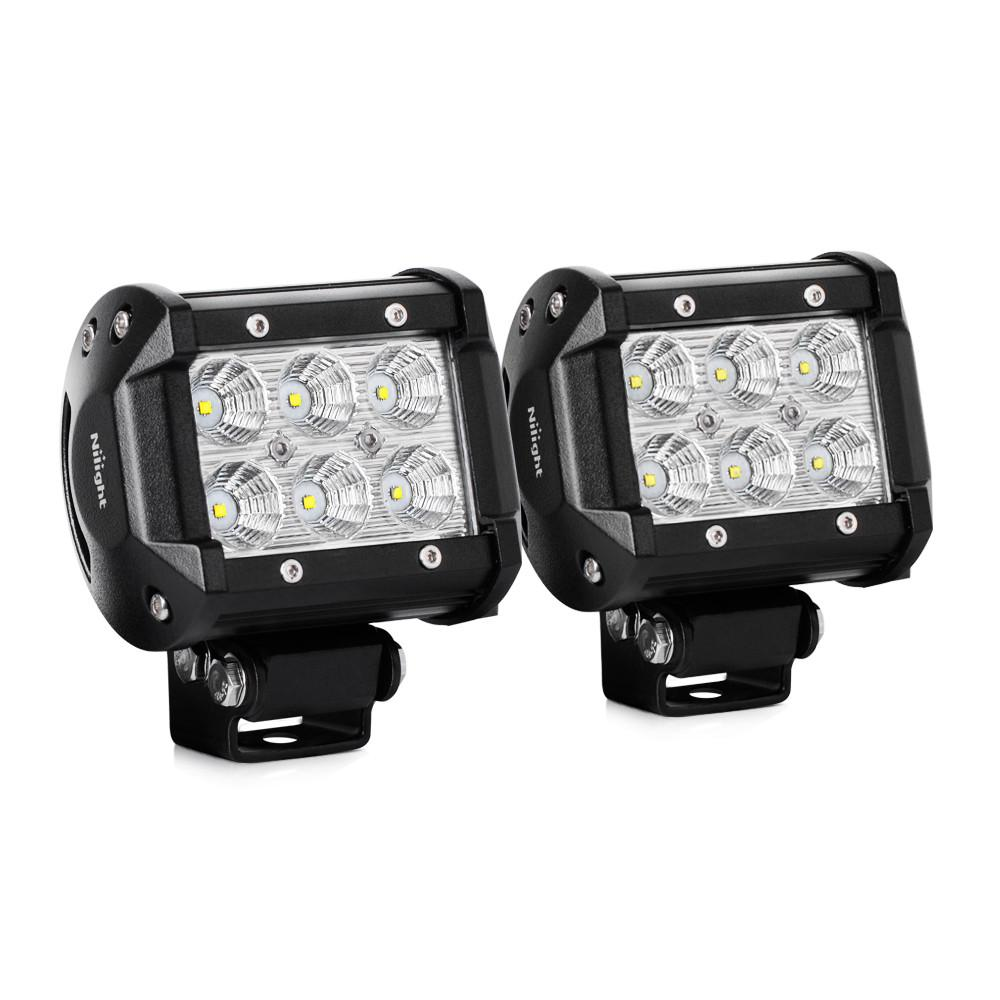Nilight 2PCS 4 Inch 1260lm 18W Flood Led Light Bar led pods, 2 years Warranty