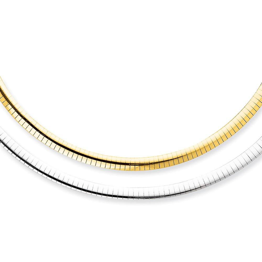 """14K Yellow Gold 5mm Reversible White and Yellow Domed Omega Necklace -18"""" (18in x 5mm) by"""