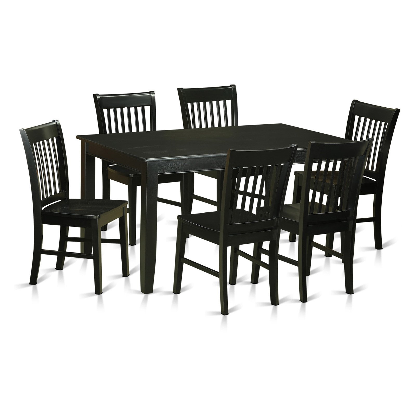 East West Furniture Dudley 7 Piece Rectangular Dining Table Set with Norfolk...