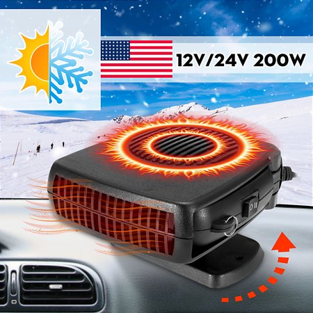 - 12V /24V 150-200W Car Vehicle Portable Heater Cooling Fan Windscreen Demister Defroster 360 Degree Rotation Cigarette Lighter Socket Foldable Handle Detachable Base Winter Summer