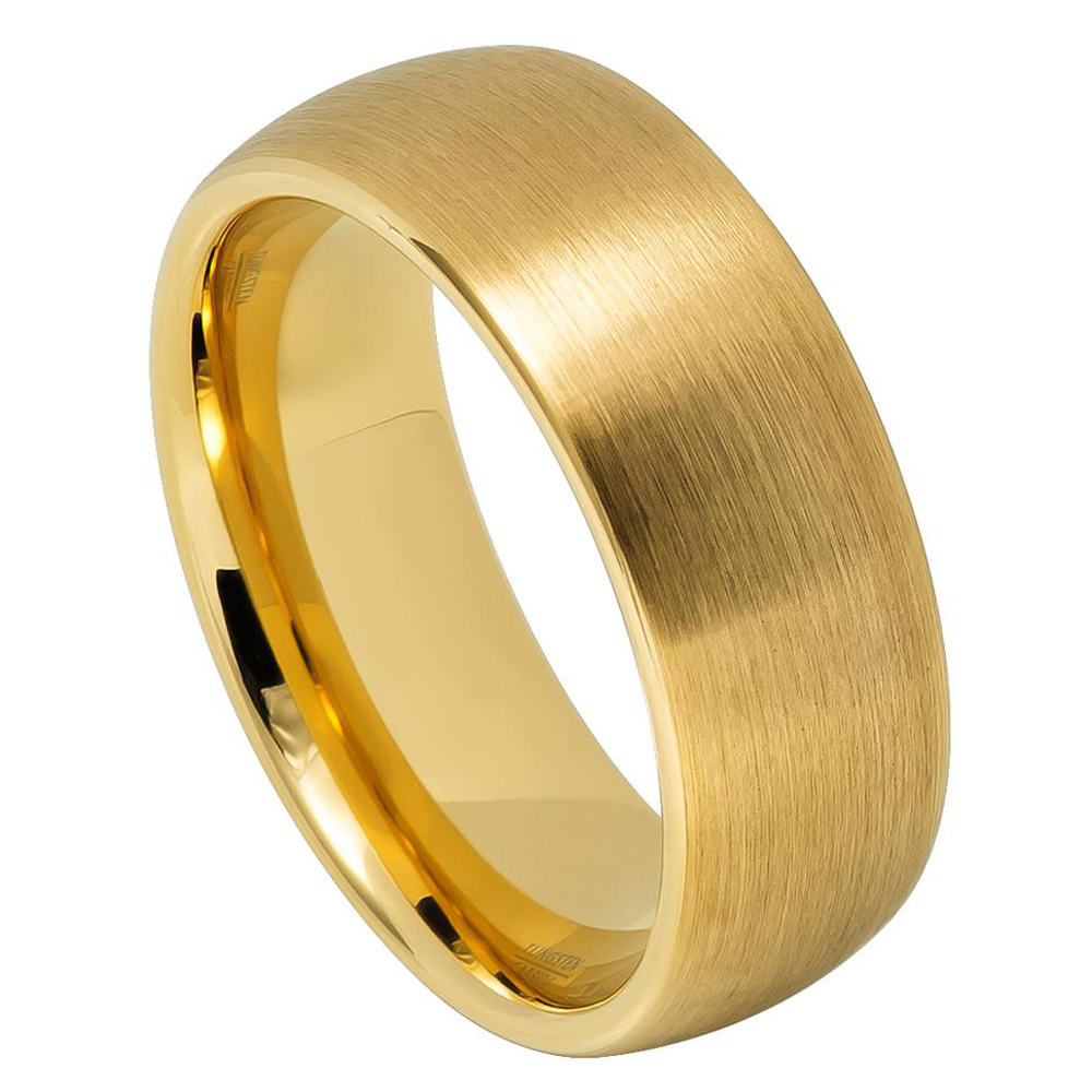 6MM Comfort Fit Tungsten Carbide Wedding Band Beveled Edges Gold Plated Ring (5 to 15) Size 8.5 Size 7.5