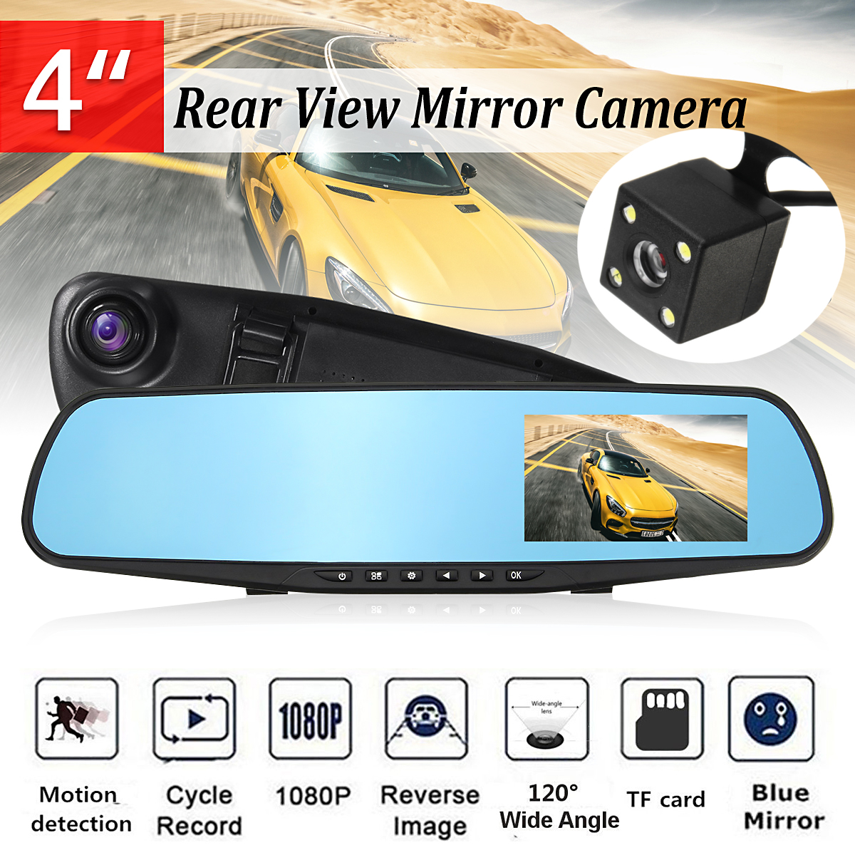 Backup Camera 4'' Mirror Dash videocamcorder Cam HD 1080P Rearview Dual Lens Video Recorder 120° G-sensor Reversing Camera Loop Recording Motion Detection