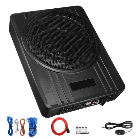 Powerful 10'' 600W 4Ω U ltra Thin Slim Cast Aluminum Under Seat Car Audio Active Subwoofer Powered Enclosure Amplifier + Wire Kit For Car/Truck (Car Subwoofers With Amp)
