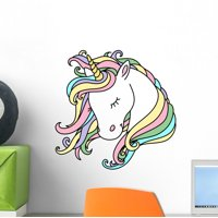 Beautiful Rainbow Haired Unicorn Wall Decal Wallmonkeys Peel and Stick Decals for Girls (12 in H x 12 in W) WM502876