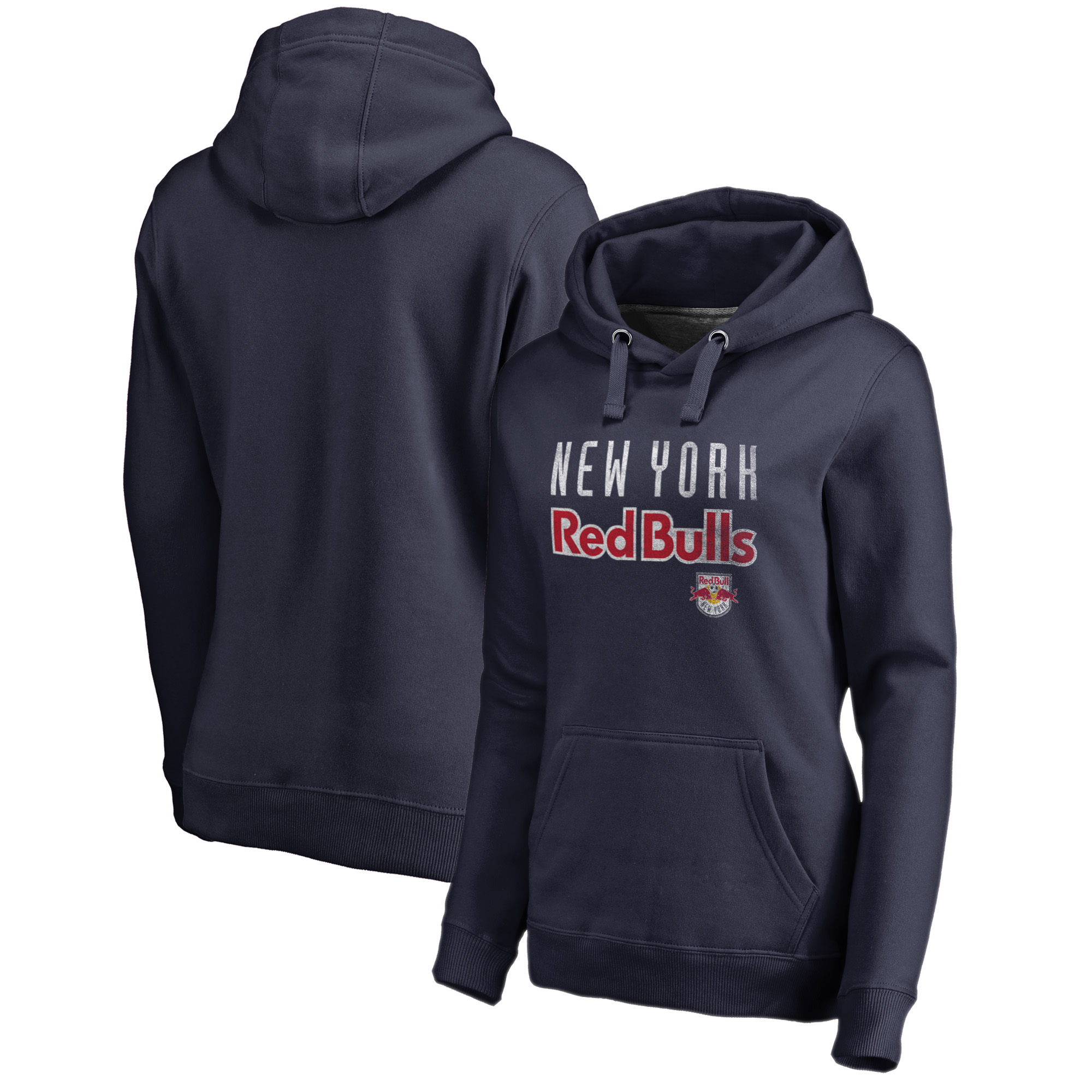 New York Red Bulls Fanatics Branded Women's Graceful Plus Size Pullover Hoodie - Navy