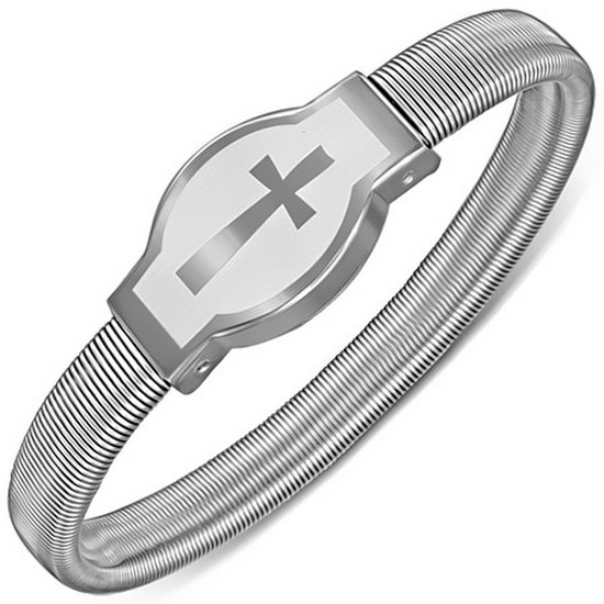 Stainless Steel Silver-Tone Religious Cross Stretch Womens Bangle Bracelet