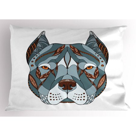 Pitbull Pillow Sham, Ethnic Zentangle Style Terrier Head Portrait Hand Drawn Ornament Canine Dog Animal, Decorative Standard Size Printed Pillowcase, 26 X 20 Inches, Multicolor, by Ambesonne