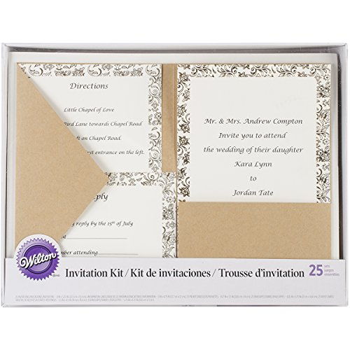 Wilton Industries 1008-8956 Kraft Pocket Invitation Kit for Wedding, 25-Pack Multi-Colored