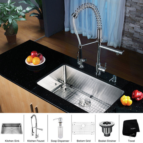 Kraus 30'' x 16'' Undermount Single Bowl Kitchen Sink with Faucet and Soap Dispenser