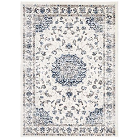 Modway Lilja Distressed Vintage Persian Medallion 5x8 Area Rug in Ivory and Moroccan Blue ()