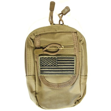Tan Color MOLLE Compatible CCW Carry Pouch + USA PATRIOT FLAG Morale Patch Fits Ruger LC9S LC380 SR9C SR40C SR22 American Compact and Sub Compact Pistols,.., By m1surplus from
