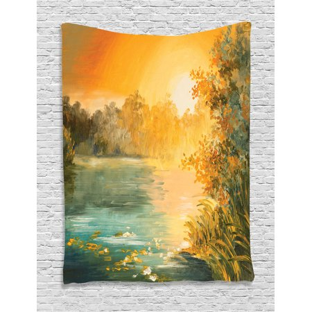 Country Decor Wall Hanging Tapestry, Pastel Color Sunset On The Lake ...
