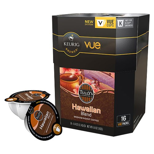 Tully's Coffee Hawaii Blend Medium Roast Coffee VUE Packs, 16 count